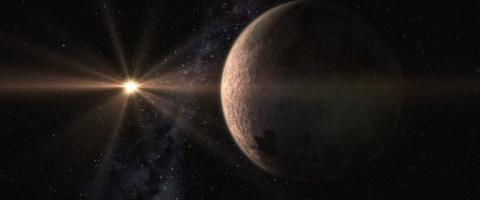 Artistic design of the super-Earth GJ 625 b and its star, GJ625