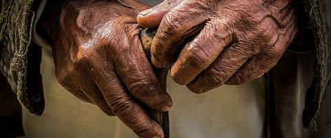 """Old Hands"" - hands resting on walking stick"